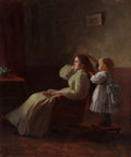 Paintings, NICHOLAS RICHARD BREWER (American, 1857-1949). Combing Mother's Hair. Oil on canvas. 30 x 25 inches (76.2 x 63.5 cm). Si...