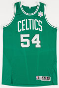 Basketball Collectibles:Uniforms, 2011-12 Greg Stiemsma Game Worn Boston Celtics Snowflake Jersey....