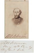 Photography:CDVs, Union Brigadier General Richard W. Johnson Wartime Clipped Signature [and] Signed and Inscribed Carte de Visite.... (Total: 2 )