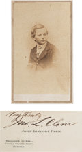 """Photography:CDVs, Union Drummer Boy John Lincoln Clem Carte de Visite and Later Calling Card Signed """"Very Truly - / Jno. L. Clem... (Total: 2 )"""