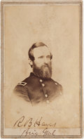 Autographs:U.S. Presidents, Union General Rutherford B. Hayes Carte de Visite Signed....