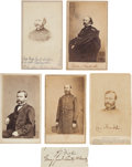 Photography:CDVs, Union Generals: Group of Five Cartes de Visite and One Clipped Signature.... (Total: 6 Items)