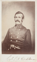 Photography:CDVs, Union Colonel (Later Brigadier General) Pleasant Adam Hackleman, Mortally Wounded at Corinth, Mississippi, Signed Carte ...