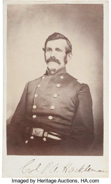 PhotographyCDVs Union Colonel Later Brigadier General Pleasant Adam HacklemanMortally