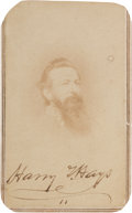 Autographs:Military Figures, Confederate General Harry T. Hays Carte de Visite Signed....
