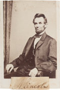 Autographs:U.S. Presidents, Abraham Lincoln Clipped Signature Affixed to a Carte de Visite of Lincoln by Photographer Mathew Brady....