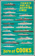 """Movie Posters:Miscellaneous, Cooks Travel Poster (c. 1955). Travel Poster (25"""" X 40"""") """"Tickets for All Shipping Lines."""" Miscellaneous.. ..."""