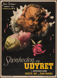 "La Belle et la Bete (Atlantic Film, 1946). Danish Poster (24.25"" X 33.5""). Fantasy"