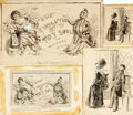Books:Original Art, [Original Art, Punch] Artist Unknown. Pair of Original Pen and Ink Drawings for Punch Cartoons. Ca. 1890s. One is signed by ...