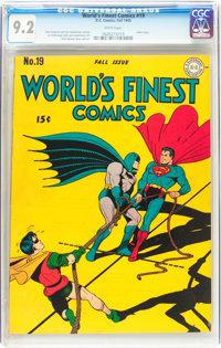 World's Finest Comics #19 (DC, 1945) CGC NM- 9.2 White pages