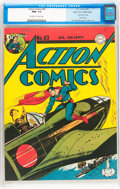 Golden Age (1938-1955):Superhero, Action Comics #63 Mile High pedigree (DC, 1943) CGC NM+ 9.6 Off-white to white pages....