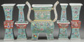Asian:Chinese, A FIVE PIECE CHINESE POLYCHROME PORCELAIN TABLE GARNITURE. Marks:(four-character mark). 15 x 12-3/4 x 5 inches (38.1 x 32.4...(Total: 5 Items)