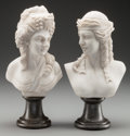 Decorative Arts, Continental, A PAIR OF SMALL NEOCLASSICAL CARRERA MARBLE BUSTS, 20th century. 12inches high (30.5 cm). ... (Total: 2 Items)