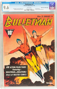 Bulletman #3 Mile High pedigree (Fawcett Publications, 1942) CGC NM+ 9.6 White pages