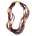 Estate Jewelry:Necklaces, Garnet, Gold Bead Necklace. ...