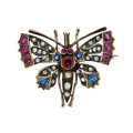 Estate Jewelry:Brooches - Pins, Victorian Ruby, Sapphire, Diamond, Pearl, Gold Pendant-Brooch. ...