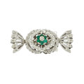 Estate Jewelry:Other , Emerald, Diamond, White Gold Clasp. ...