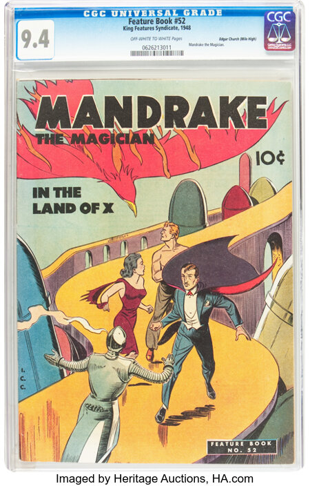 Feature Books #52 Mandrake the Magician - Mile High pedigree (David McKay Publications, 1948) CGC NM 9.4 Off-white to white pa...