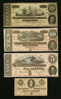 Confederate Notes:1864 Issues, T67, T68, T69, and T72 1864 Notes.. ... (Total: 4 notes)