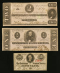 Confederate Notes:1863 Issues, T61, T62, and T63 1863 Notes.. ... (Total: 3 notes)