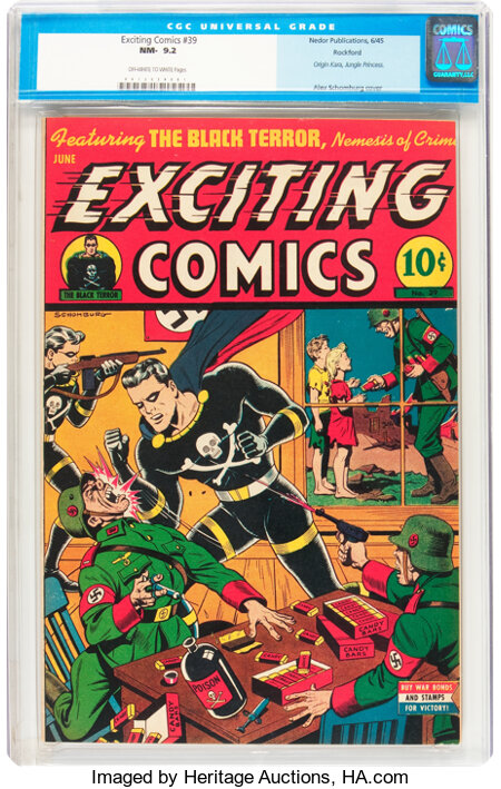 Exciting Comics #39 Rockford pedigree (Nedor/Better/Standard, 1945) CGC NM- 9.2 Off-white to white pages....