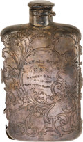 Military & Patriotic:Civil War, Fine Silver Flask Cover Presented to Gen Wesley Merritt, May 23, 1898....