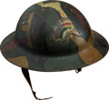Military & Patriotic:WWI, WWI Camouflaged American Model 1917 Helmet....