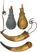 Arms Accessories:Horns, Lot of Two Powder Flasks and Two Powder Horns....