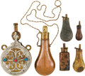 Arms Accessories:Flasks, Group of Six Powder Flasks....