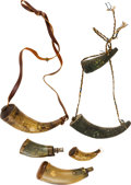 Arms Accessories:Horns, Group of Six Powder Horns....