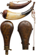 Arms Accessories:Flasks, Lot of Two Powder Horns and Two Powder Flasks....