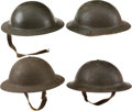 Military & Patriotic:WWI, Four Military Brodie Helmets.... (Total: 4 Items)