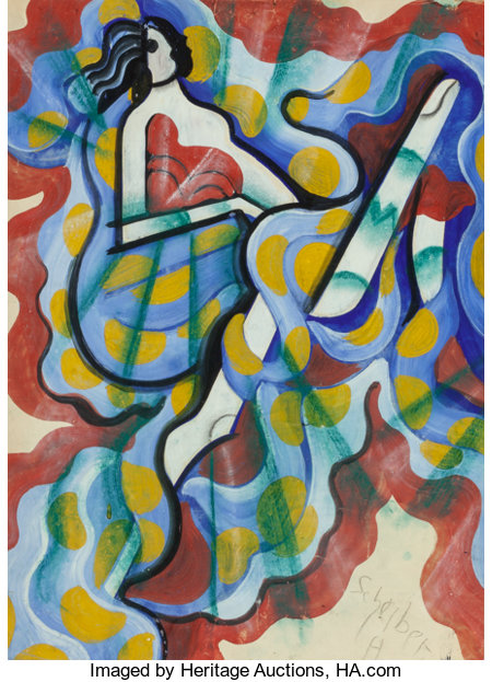 HUGO SCHEIBER (Hungarian, 1873-1950) Abstract Woman Watercolor and gouache on paper laid on board 23-1/8 x 16-7/8 inc...
