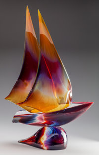 DINO ROSIN (American, 20th century) Sailboat Cast Glass 31 inches high (78.7 cm) Signed to the