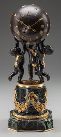 Decorative Arts, Continental, A CONTINENTAL BRONZE, GILT BRONZE AND MARBLE FIGURAL CLOCK, circa1900. 14-3/4 inches high (37.5 cm). ...