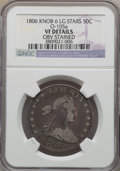 Early Half Dollars, 1806 50C Knob 6, Large Stars, O-105a, R.2, -- Obv Stained -- NGCDetails. VF. PCGS Population (0/4). ...