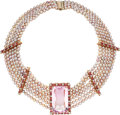 Estate Jewelry:Necklaces, Kunzite, Tourmaline, Cultured Pearl, Pink Gold Necklace. ...