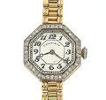 Timepieces:Wristwatch, Tiffany & Co. 14k Gold & Diamond Wristwatch. ...