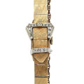 Timepieces:Wristwatch, Lady's 14k Gold & Buckle Covered Diamond Dial Wristwatch. ...