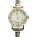 Timepieces:Wristwatch, LeCoultre 14k Gold & Diamond Mystery Dial Wristwatch. ...