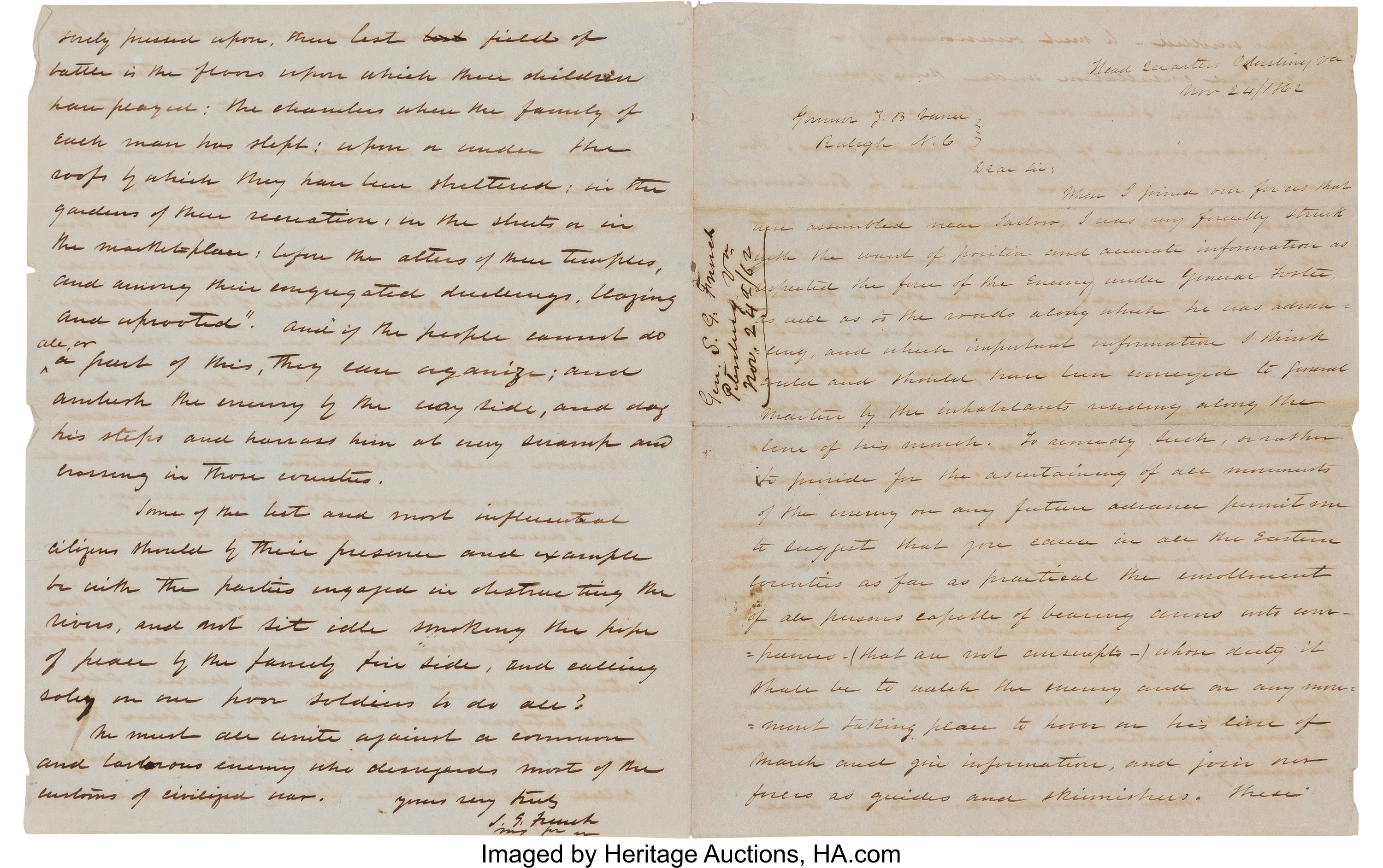 Confederate General Samuel G  French Autograph Letter Signed