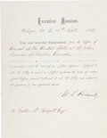 Autographs:Military Figures, Ulysses S. Grant Document Signed...