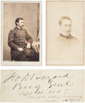 Photography:CDVs, Union Brigadier General George Dashiell Bayard, Mortally Wounded at the Battle of Fredericksburg, Two Cartes de Visite... (Total: 3 Items)