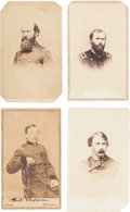 Photography:CDVs, Lot of Four Union General Officer Cartes de Visite and One Clipped Signature.... (Total: 4 Items)