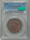 1820 1C Large Date, N-13, R.1, MS64 Brown PCGS. CAC....(PCGS# 36673)