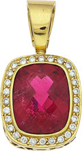 Estate Jewelry:Pendants and Lockets, Tourmaline, Diamond, Gold Pendant-Brooch, MAZ. ...