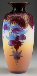 Art Glass:Galle, GALLE MOLD-BLOWN AND OVERLAY OPALESCENT GLASS FUCHSIA VASE, Nancy, France, circa 1920. Marks: Gallé. 11-1/2 inches high ...