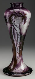 Art Glass:Galle, TALL GALLE FIRE POLISHED GLASS IRIS VASE, circa 1900, Marks: Gallé. 16-1/4 inches high (41.3 cm). THE COLLECTION OF DR...