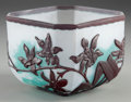 Art Glass:Other , BURGUN, SCHVERER & CIE OVERLAY GLASS ORCHID BOWL WITH MARTELÉ,circa 1900. Marks: VERRERIE D'ART, DE LORRAINE, depose (s...
