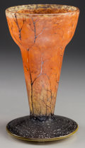 Art Glass:Daum, DAUM ETCHED AND ENAMELED GLASS LANDSCAPE VASE MOUNTED AS A LAMP,Nancy, France, circa 1900. Marks: Daum, Nancy, (with th...